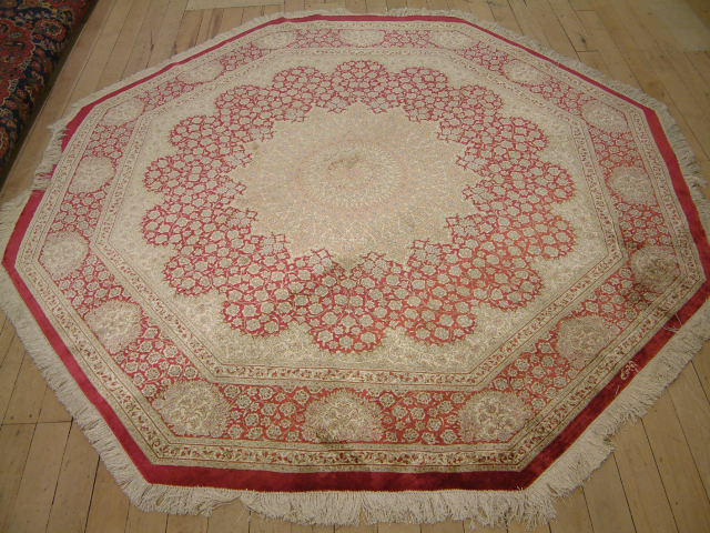 Qom PURE SILK Persian rug, octagon qum Persian carpets & rugs.